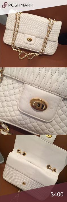 VTG BALLY White Quilted Leather Gold Chain Bag VTG BALLY White Quilted Leather Gold Chain Bag. Gorgeous and in mint condition. Made of lamb leather with gold hardware. No dust bag. Can be worn as a shoulder bag or crossbody. Bally Bags Crossbody Bags