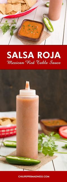 Mexican Red Table Sauce (Salsa Roja) - The perfect taco sauce or. Mexican Red Table Sauce (Salsa Roja) - The perfect taco sauce or burrito sauce you will want to always have around. Easy Homemade Salsa, Homemade Sauce, Homemade Butter, Mexican Dishes, Mexican Food Recipes, Mexican Red Sauce Recipe, Mexican Easy, Vegetarian Mexican, Mexican Restaurant Hot Sauce Recipe