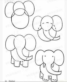 Step by Step Drawing Lessons for Toddlers: Learn to Draw with Circles / How to Draw. Painting and Drawing for Kids Drawing Lessons, Art Lessons, Drawing Ideas, Drawing Journal, Art For Kids, Crafts For Kids, Arts And Crafts, Elephant Drawing For Kids, Cartoon Elephant Drawing