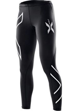 Size XS, S, M, L - Brand New Womens 2XU Long Compression Tights (Black / Silver)