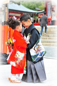 Really cute children at coming-of-age Shinto ceremony in Kyoto, Japan.