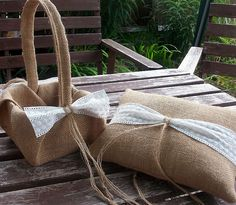Flower Girl Basket and Ring Bearer Pillow Set in Burlap and Broderie Anglaise Cream Lace Trim Woodland Fall Rustic