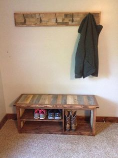 Are you looking for a way to organize your entry way, mud room, or garage? Use this rustic shoe bench as a way of organizing your shoes while adding country charm to your home! One end of the shoe bench is tall enough to store two pairs of boots, while the other end is split for space