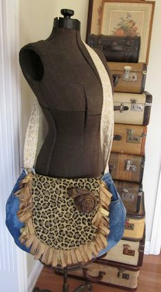 Jean Denim Upcycled Leopard Ragged Gypsy Bag by PiecesPassed, $45.00