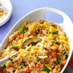 Super Quick Chicken Fried Rice Recipe -After my first child was born, I needed meals that were satisfying and fast. This fried rice is now part of our routine dinners. —Alicia Gower, Auburn, New York