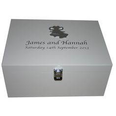 White Wedding Memory Box with silver bells