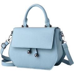 Zip PU Leather Metal Crossbody Bag ($23) ❤ liked on Polyvore featuring bags, handbags, shoulder bags, blue shoulder bag, zip shoulder bag, zip purse, cross body and blue crossbody purse