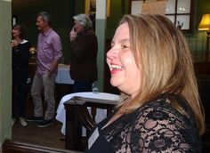 Gillian Hamer, talking about False Lights and the Gold Detectives series, set on Anglesey Detective Series, Anglesey, Book Launch, Two Men, November 2015, Candid, Product Launch, Dreadlocks, Lights
