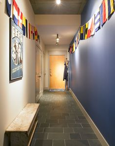 interesting idea to paint one wall of long hallway  Fell Point, Baltimore | Bardes Interiors