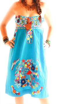 Handmade Mexican embroidered dresses and vintage treasures from Aida Coronado Mexican strapless embroidered dress A heart in every piece