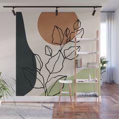 Abstract Art /Minimal Plant 6 Wall Mural by thindesign Wall Painting Decor, Mural Wall Art, Wall Decor, Painting Trees On Walls, Painted Wall Murals, Tree Wall Murals, Wall Paintings, Bedroom Wall, Bedroom Decor