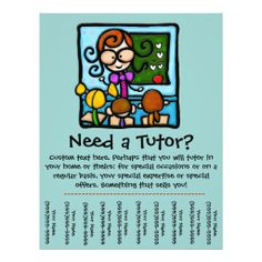 Tutor promotional tear sheet flyer