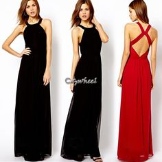 2014 New Summer Women Clothing Sexy Bandage Dress Long Backless Dresses  Black Red 85c384ac4f0