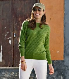 Cable Crew Neck Sweater | Cashmere & Cotton Sweater | Wool Overs USA