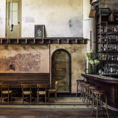 Design agencies Nothing:Something:NY and Martin Heid Design/Build collaborated on the interior; key features are the exposed pipework, hardwood floors, rustic wood paired with marble on the bar, and a generally weathered, vintage look...