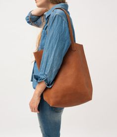 Baggu's Basic Tote...A simple daily tote in the softest leather. via A CUP OF JO