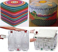 crochet and plastic bottles. Could use plastic bottles and cover with other fabric I'd guess. Empty Plastic Bottles, Plastic Bottle Crafts, Recycled Bottles, Water Bottles, Soda Bottles, Diy Crafts With 2 Liter Bottles, Plastic Recycling, Do It Yourself Furniture, Diy Furniture