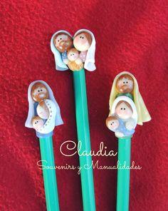Pesebres en lápices Navidad masa flexible