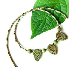 Beaded leaf necklace  green turquoise Picasso Czech by dalystudios, $20.00