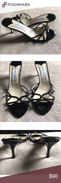 "Authentic Jimmy Choo Slip On Leather Sandals Jimmy Choo Womens Black Leather Sandals Heels SZ EU 40 / US 10  Brand: Jimmy Choo  Material: Leather  Color: Black  Size: EU 40 / US 10  Width: M  Heel : 3""  Condition: Shoes are in excellent condition showing minor signs of wear. Some wear presents on bottom of soles. See photos for details. Jimmy Choo Shoes Heels"