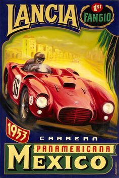 Robert Carter: Mexican Road Race, 48 x 72 ins. Robert Carter: Mexican Road Race, 48 x 72 ins. Pin Ups Vintage, Pub Vintage, Vintage Race Car, Grand Prix, Poster Ads, Car Posters, Course Automobile, Art Deco Posters, Automotive Art