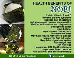 Health Benefits of Nori! (Dried toasted seaweed)