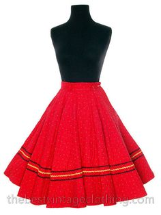 Vintage 1950s Circle Skirt Red Quilted Cotton Strawberry Mini Print Very Small Teens