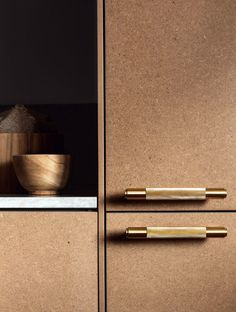Brass pull bars and MDF. Hardware by Buster + Punch Layout Design, Küchen Design, Home Design, Design Desk, Chair Design, Mdf Furniture, Kitchen Furniture, Furniture Handles, Furniture Design