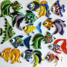 Art Glass Decorative Small fishes fusing | Glass handmade fused clocks, bowls, jewelry and decoration in fusing technique