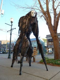 """For Halloween in 2010, artist Melissa Irwin and her husband Garen built four-legged """"Stilt Spirit"""" costumes that move with a wonderfully unsettling, thoroughly inhuman gait. The costumes also featu..."""