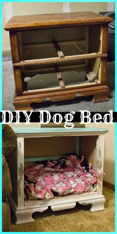 Ideas Diy Dog Bed Furniture Night Stands For 2019 Cat Crate, Crate Bed, Diy Dog Crate, Diy Dog Kennel, Diy Dog Bed, Pet Beds Diy, Diy Vanity, Diy Tumblr, Crate Nightstand