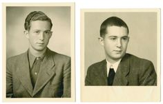 Studio portraits of Heinz Landman taken before and after his incarceration in Dachau on Kristallnacht. 1938.