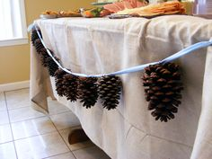 Simple garland. Add a string of white christmas lights and it's ready for an evening shower.