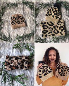 Luxe Leopard Collection - Crochet Pattern Bundle by on Etsy Headband Pattern, Beanie Pattern, Headband Crochet, Slouch Beanie, Mittens Pattern, Cowl Scarf, Tapestry Crochet, Crochet Patterns, Crochet Ideas