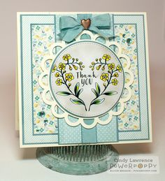 Forget-Me-Not Heart digital stamp set by Power Poppy, card design by Cindy Lawrence.