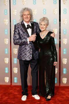 Brian May and Anita Dobson on the red carpet at the 2019 BAFTA Awards in London on February They attended for Brian May's assisting role in the film 'Bohemian Rhapsody'. Best Actress, Best Actor, Film Elizabeth, Queen With Adam Lambert, Queen Brian May, 9 Film, Best Costume Design, Letitia Wright, British Academy Film Awards