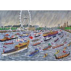 This puzzle is sure to bring back memories of the Queen's Diamond Jubilee Pageant, the boats, the flags and of course the classic British weather! Personalized Puzzles, Jigsaw Online, Wooden Jigsaw Puzzles, Houses Of Parliament, Canoe And Kayak, Online Gifts, Bold Colors, Pageant, Kayaking