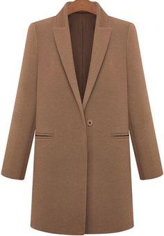 Coffee Lapel Long Sleeve Pockets Woolen Coat - winter styles from shein.com