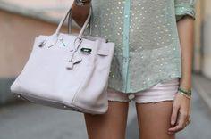 sheer mint and pastel shorts