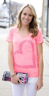 Neon Pink Heart Print Top $19.99!! Just in time for Valentine's Day!!