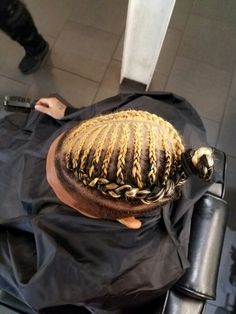 CornRows and color. Braids With Fade, Braids For Boys, Mens Braids Hairstyles, Hairstyles Haircuts, Braided Man Bun, Bun Braid, Man Bun Haircut, Cool Hair Designs, Hair Men Style