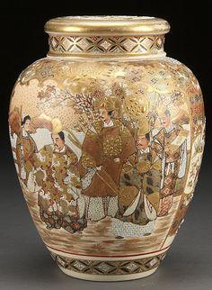 satsuma pottery | JAPANESE SATSUMA ENAMELED POTTERY COVERED JAR