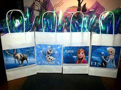Frozen Theme Gift Bags  ...White Bags- Michaels ...Blue foil paper- Dollar Tree...Images- internet