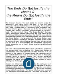 The Ends Do NOT Justify the Means!