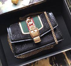 Gucci Sylvie Velvet Mini Chain Bag 494646 Black 2018 Gucci Handbags Sale, Women's Handbags, Gucci Sylvie, Dust Bag, Velvet, Chain, Mini, Instagram Posts, Leather