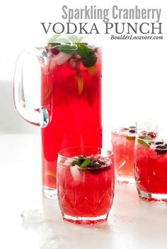Sparkling Cranberry Vodka Punch With Cranberry Juice Cocktail Vodka Lemonade Ginger Ale Citrus Fruit Fresh Cranberries Mint Leaves Thanksgiving Drinks, Christmas Drinks, Holiday Drinks, Holiday Meals, Holiday Parties, Summer Christmas, Christmas Punch Alcohol, Christmas Vodka Cocktails, Xmas