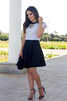 Twofer dress one piece style - polka dot high neck keyhold blouse with black skirt and ankle strap heels for summer fun Church Outfits, Office Outfits, Casual Dresses, Casual Outfits, Cute Outfits, Cute Fashion, Fashion Outfits, Dress First, Skirt Outfits