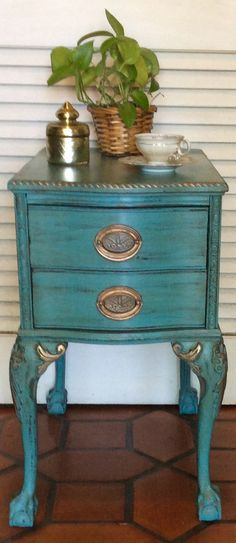 Vintage French Style Blue Nightstand/Side by RevisitedConcepts