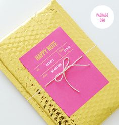 Gold bubble mailer and Tokketok Happy Note cards | Sally J Shim.