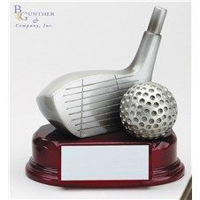 Resin Driver Award :: Silver resin golf driver on rosewood finish base.